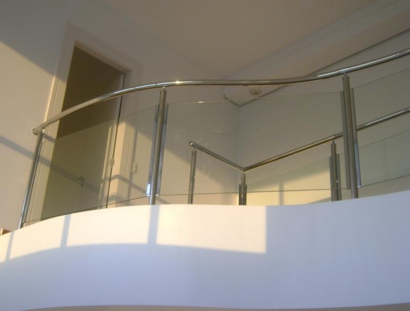 Corrimão de Inox com Vidro Rio Grande da Serra - Corrimão de Escada Inox