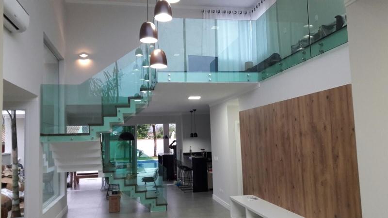 Corrimão de Vidro com Botão Poá - Corrimão de Escada em Vidro Temperado