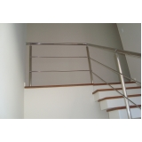 instalação de corrimão de aço inox para escada reta valores Pari